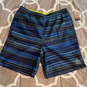 🆕 NWT Reebok Men's Striped Swim Trunks, Swimsuit